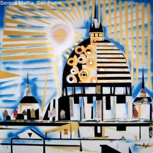 Serena Maffia, San Pietro tec mix su tela 100x100